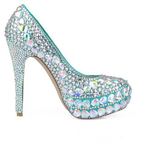 2018 New Princess  White Drill Round Toe Comfortable High Heel Shoes - COLOR 38
