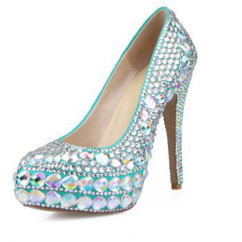 2018 New Princess  White Drill Round Toe Comfortable High Heel Shoes - COLOR 40