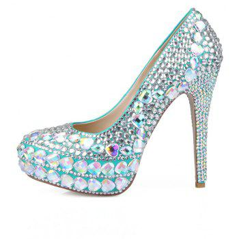 2018 New Princess  White Drill Round Toe Comfortable High Heel Shoes - COLOR 35