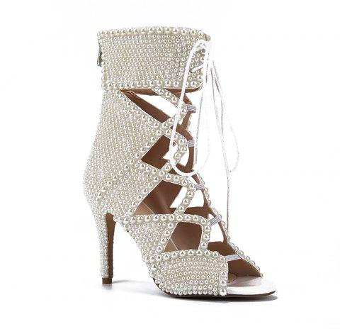 2018 New Sexy Pearl High-Heeled Boots - PEARL WHITE 36