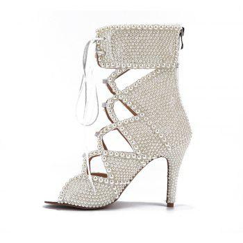 2018 New Sexy Pearl High-Heeled Boots - PEARL WHITE 37