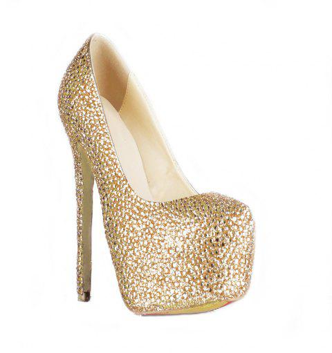 2018 New Women Shoes Golden Drill High Heel Round Head Single Shoes - CHAMPAGNE 41