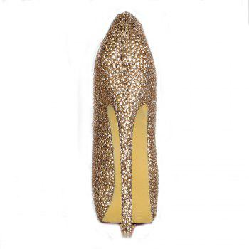 2018 New Women Shoes Golden Drill High Heel Round Head Single Shoes - CHAMPAGNE 40
