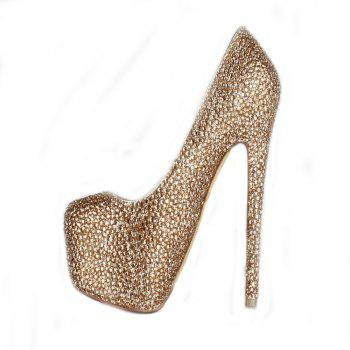 2018 New Women Shoes Golden Drill High Heel Round Head Single Shoes - CHAMPAGNE 36
