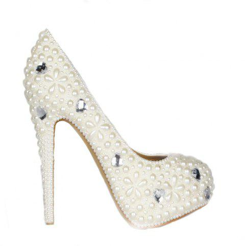 2018 Pearl Round Head Sweet High Heels - PEARL WHITE 37