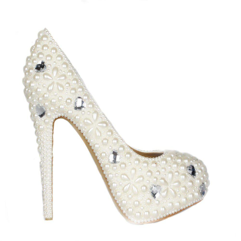 2018 Pearl Round Head Sweet High Heels - PEARL WHITE 36