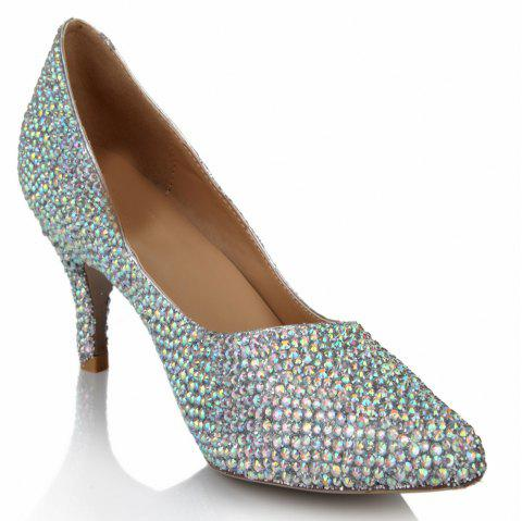 2018  Color Drills High Heel Pointed Sweet Women Shoes - COLOR 38