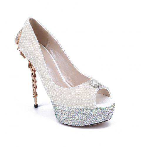 2018 New Pearl Scorpion Fish Mouth Ladies Wedding Shoes - PEARL WHITE 37