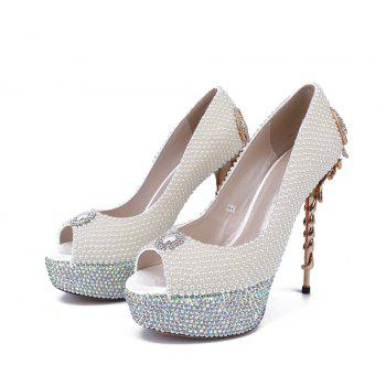 2018 New Pearl Scorpion Fish Mouth Ladies Wedding Shoes - PEARL WHITE 39
