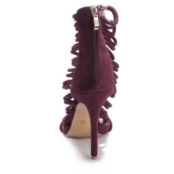 2018 New Wine Red Flannelette Hollowed Out High Heel Sandals - WINE RED 35