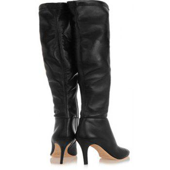 2018 New Black High Heel Elastic Round Head Boots - BLACK 35