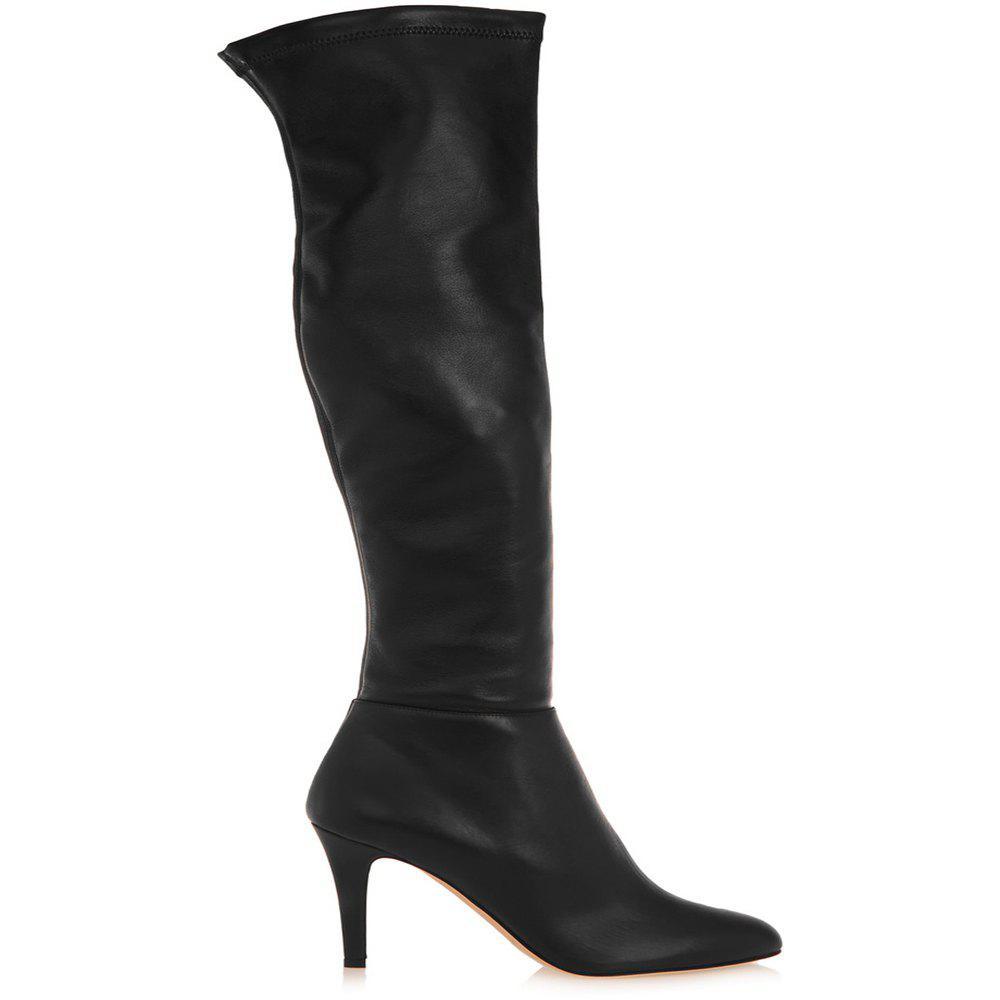 2018 New Black High Heel Elastic Round Head Boots - BLACK 40