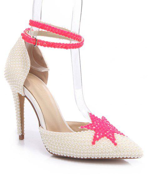 2018 New Simple White Leather High Heel Single Shoes - WHITE 37