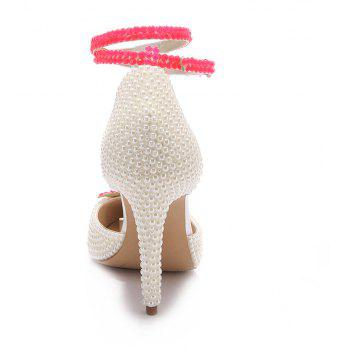 2018 New Simple White Leather High Heel Single Shoes - WHITE 38
