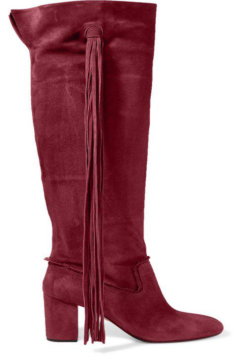2018 New Fashion Wine Red High Boots - WINE RED 37