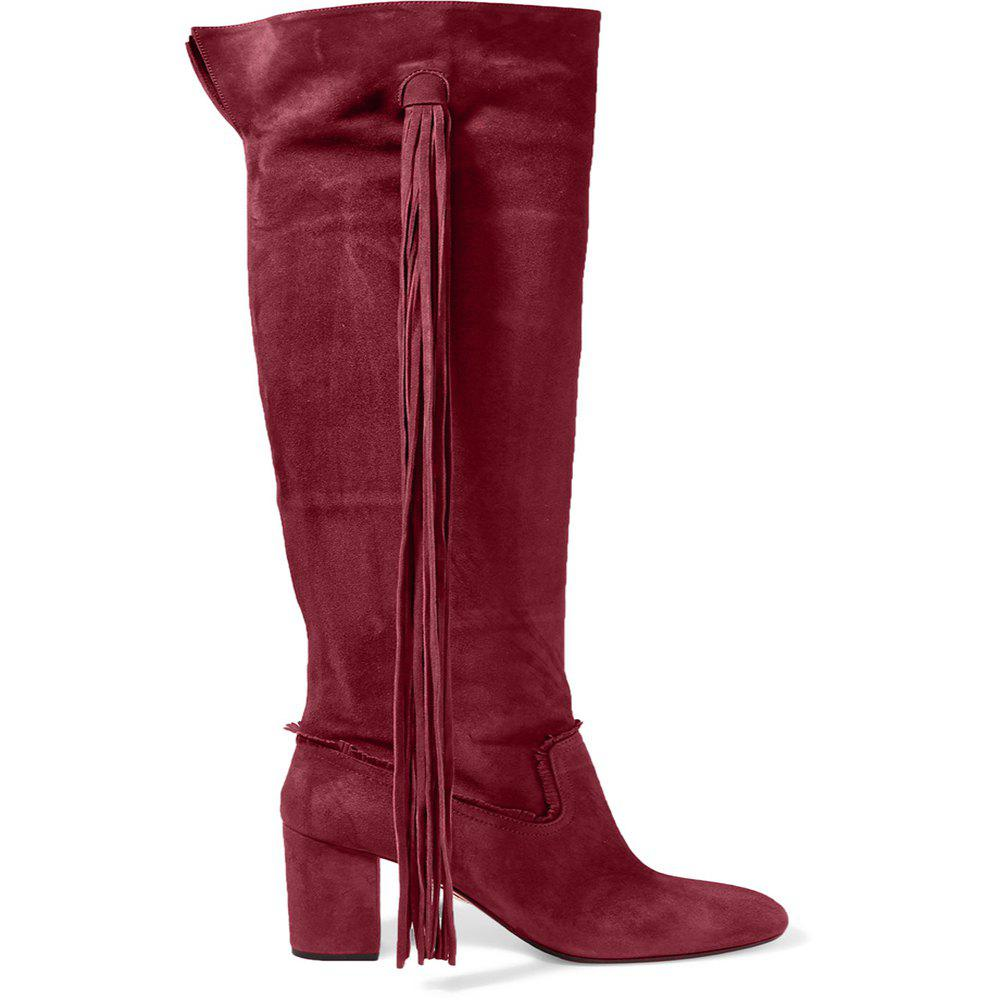 2018 New Fashion Wine Red High Boots - WINE RED 36