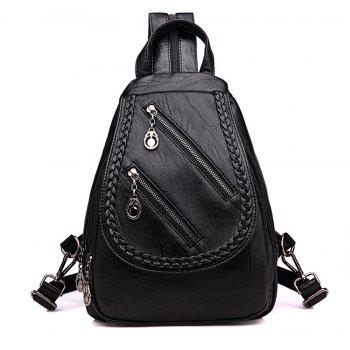 Fashion Double Zipper Women Backpack PU Leather