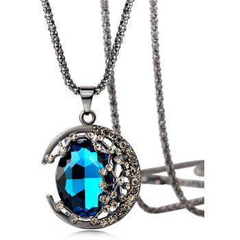Leisure Sweet Lady Artificial Jewel Pendant Necklace Sweater Chain - BLUE