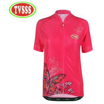 TVSSS Women Pink Butterfly Pattern Design Cycling Jersey Shorts MTB Shorts Clothing - BLACK M