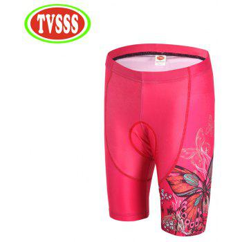 TVSSS Women Pink Butterfly Pattern Design Cycling Jersey Shorts MTB Shorts Clothing - BLACK 2XL