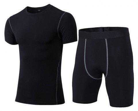 Men's Fitness Set Sweat-Drying T-Shirt and Shorts Suit - BLACK 2XL