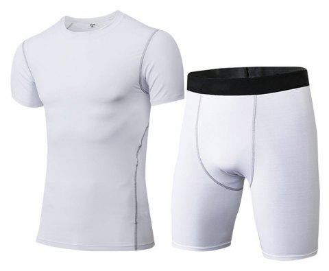 Men's Fitness Set Sweat-Drying T-Shirt and Shorts Suit - WHITE M