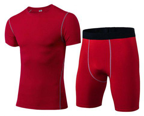 Men's Fitness Set Sweat-Drying T-Shirt and Shorts Suit - RED 2XL