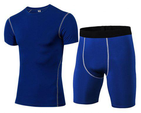 Men's Fitness Set Sweat-Drying T-Shirt and Shorts Suit - BLUE XL