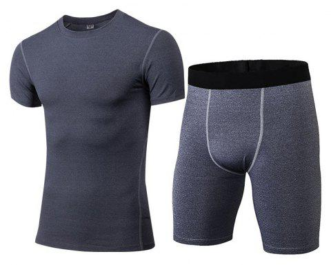 Men's Fitness Set Sweat-Drying T-Shirt and Shorts Suit - GRAY S