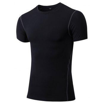 Men's Fitness Set Sweat-Drying T-Shirt and Shorts Suit - BLACK 3XL