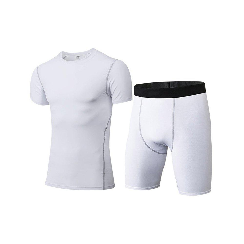 Men's Fitness Set Sweat-Drying T-Shirt and Shorts Suit - WHITE S