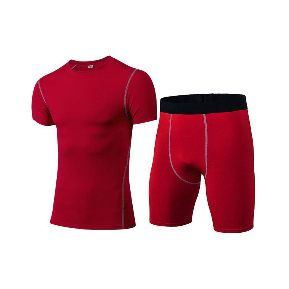 Men's Fitness Set Sweat-Drying T-Shirt and Shorts Suit - RED M