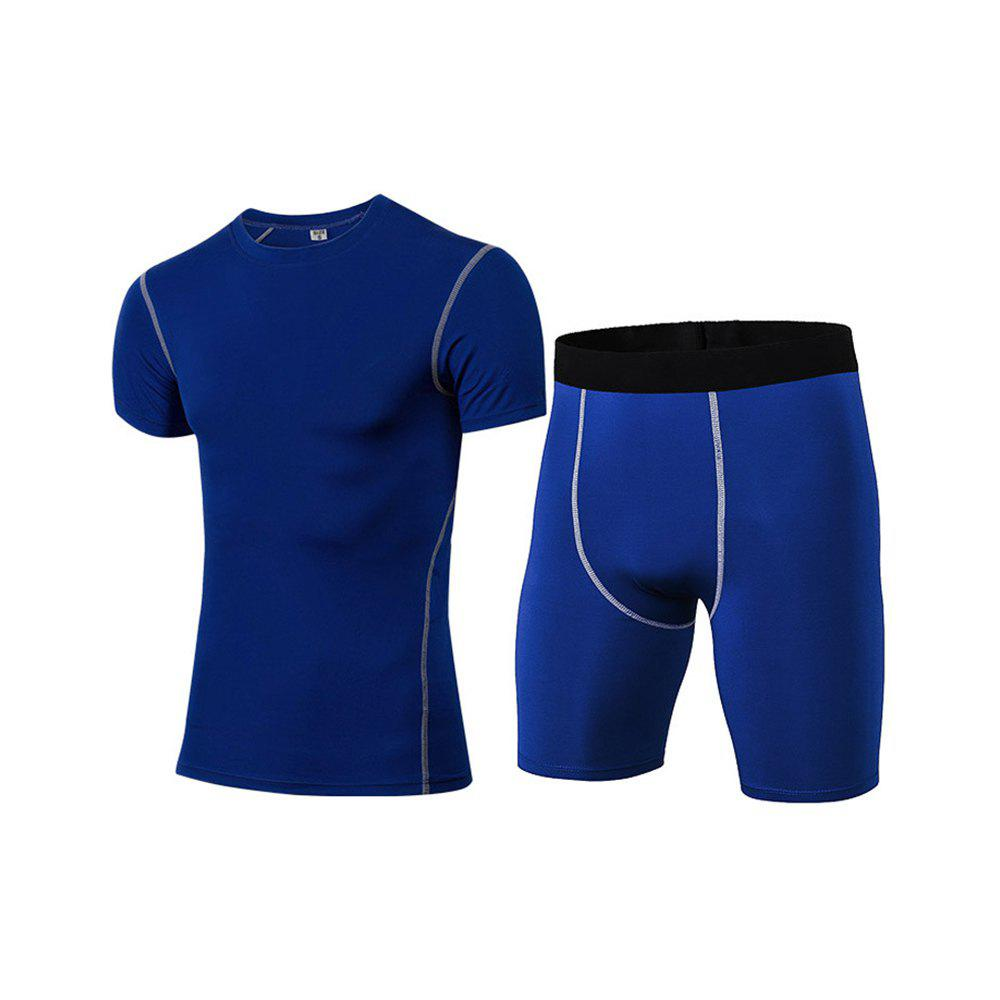Men's Fitness Set Sweat-Drying T-Shirt and Shorts Suit - BLUE L