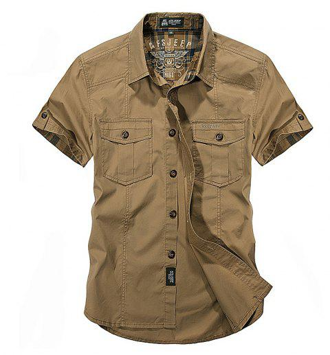 Men's Large Size Shirt Short Sleeve - KHAKI L