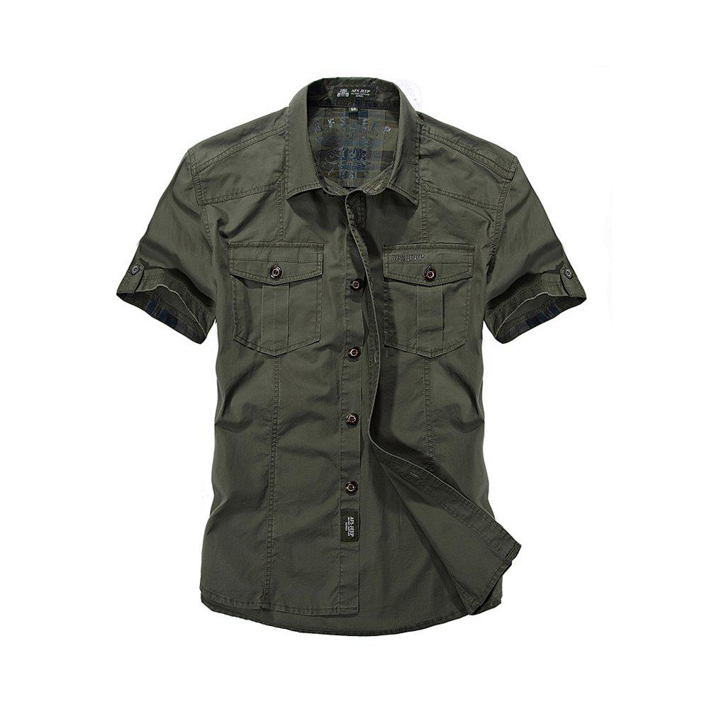 Men's Large Size Shirt Short Sleeve - ARMYGREEN 2XL
