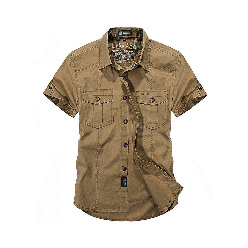 Men's Large Size Shirt Short Sleeve - KHAKI 3XL