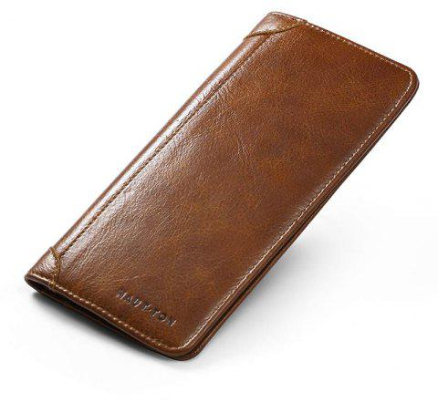 HAUTTON Mens Vintage Leather Wallet Long Slim Bifold Wallets For Men and Boy Card Holder - BROWN