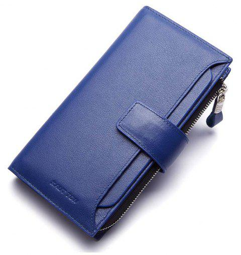 HAUT TON Men Genuine Leather Clutch Bag Handbag Organizer Checkbook Wallet Card Case - BLUE