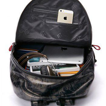 HAUT TON Design Printing Canvas Water Resistant Backpack - SILVER GREY