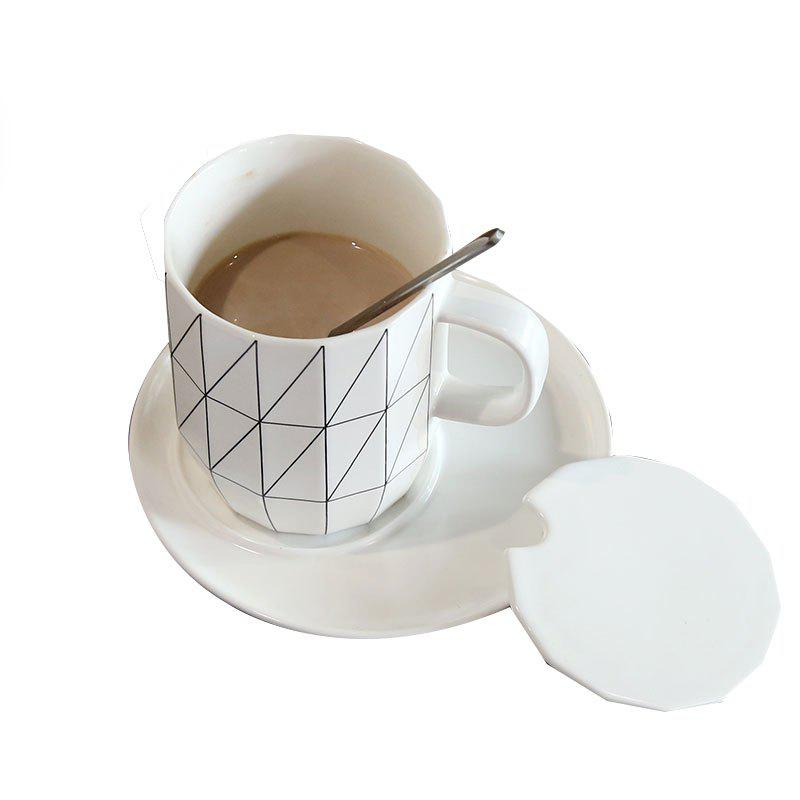 Ceramic Simple Couple Mark Cup - WHITE