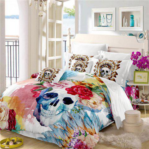 Painted Pattern Tribal Skeleton Chieftain Series Bedding Set Three or Four Pieces AS17 - COLORMIX CALIFORNIA KING
