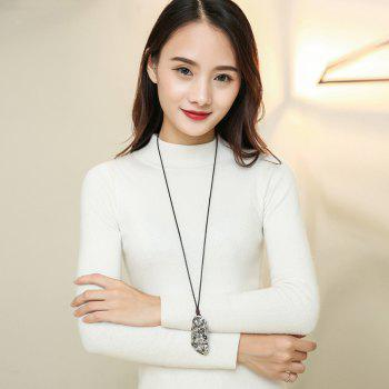 Fashion Ancient Silver Pendant Necklace Long Sweater Chain - SILVER