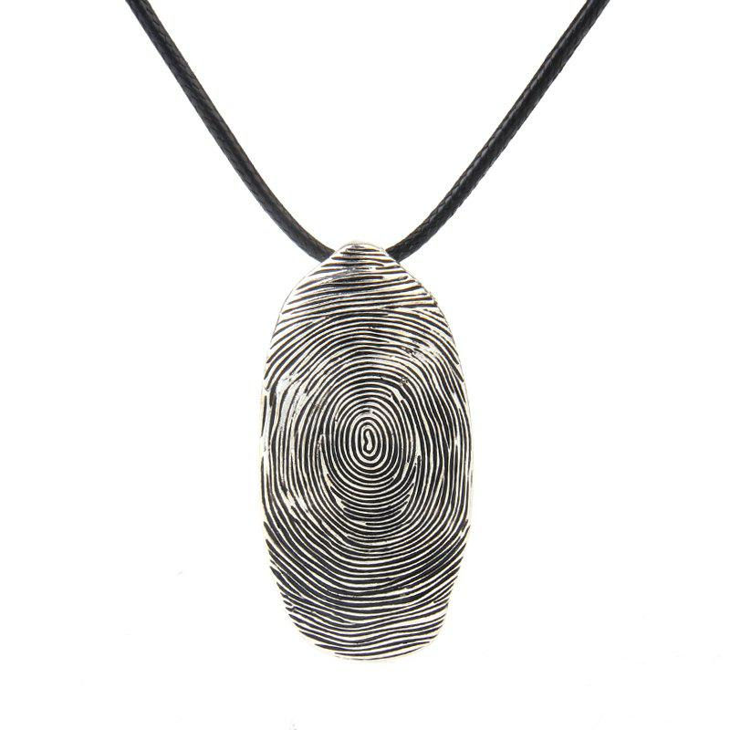 Hot Sale Ancient Silver Fingerprint Pendant Necklace - SILVER