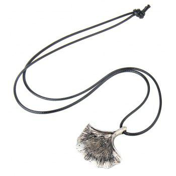 Ancient Silver Ginkgo Leaf Pendant Necklace - SILVER