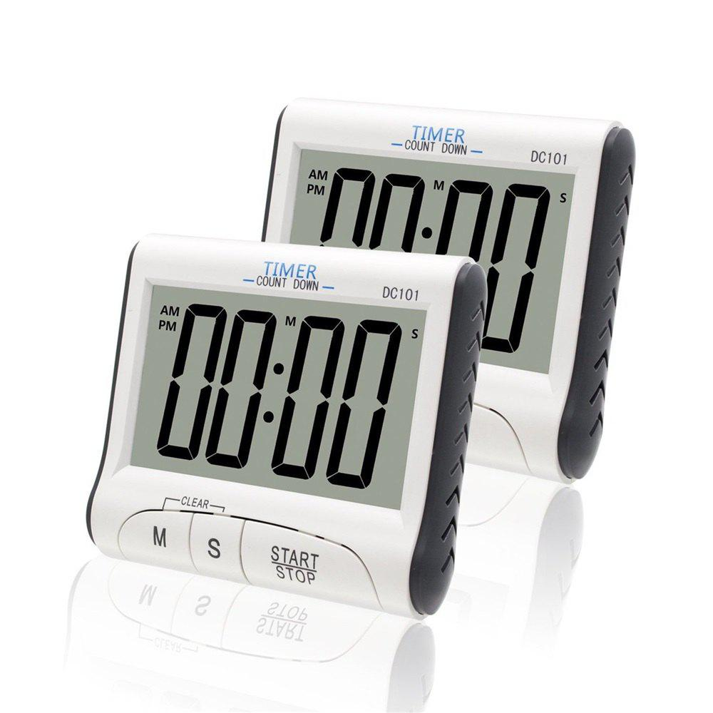 2pcs Magnetic LCD Digital Kitchen Timer Count Down Egg Cooking Alarm Clock - WHITE