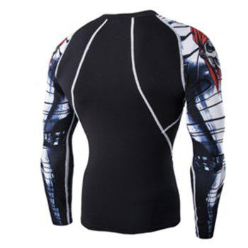 Digital Printing Fitness Quick-Drying Long-sleeved T-shirt - BLACK XL