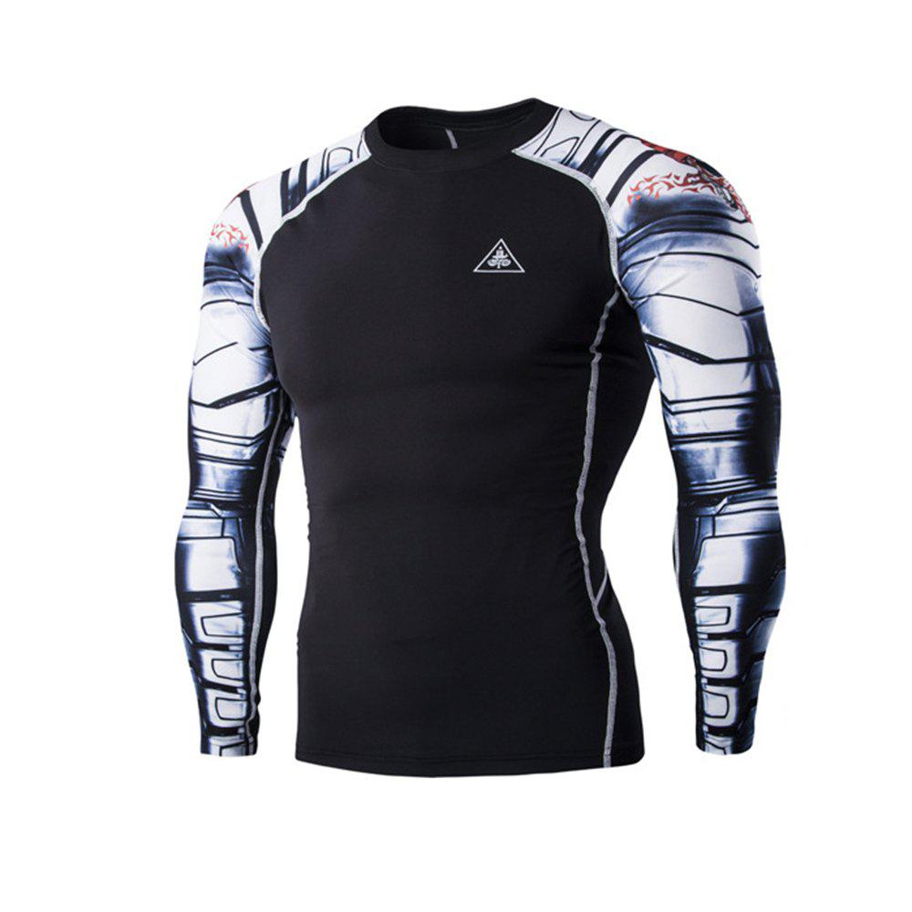 Digital Printing Fitness Quick-Drying Long-sleeved T-shirt - BLACK 2XL