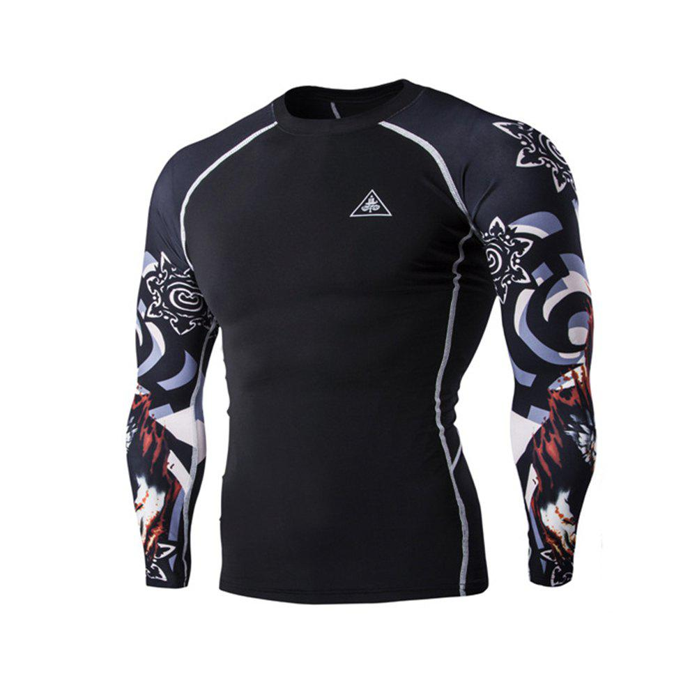 Digital Printing Fitness Long-sleeved T-shirt - BLACK 2XL