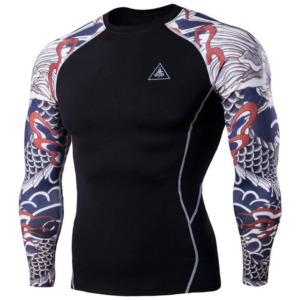 Men's Digital Printing Fitness Long-sleeved T-shirt - BLACK M