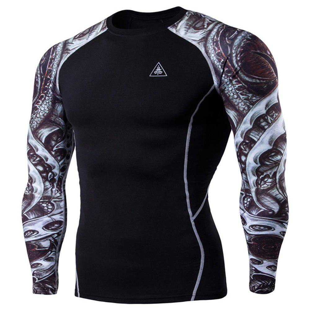 Men's Digital Printing Long-Sleeved Fitness Tattoo Longan Knife Long-Sleeved T-Shirt - BLACK XL
